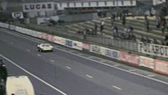 Le Mans 1972: car passing in the staight line Stock Footage