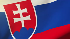 Slovakia flag waving in the wind. Looping sun rises style.  Animation loop Stock Footage