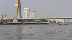Chao Praya river and bridge, Bangkok, Thailand. Stock Footage