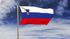 Slovenia flag waving in the wind. Looping sun rises style.  Animation loop Stock Footage