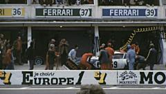 Le Mans 1972: mechanics working on a pit stop Stock Footage