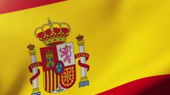 Spain flag waving in the wind. Looping sun rises style.  Animation loop Stock Footage