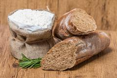 bread and flour - stock photo