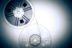 Super 8mm movie reels in vintage color effect - stock photo