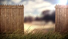 Open old wood fence on forest background Stock Footage