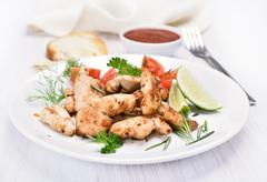 Chicken grill meat with vegetables Stock Photos
