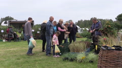 People buy berry bushes from gardener at plant fair Stock Footage