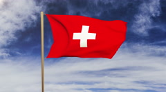 Switzerland flag waving in the wind. Looping sun rises style.  Animation loop Stock Footage