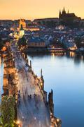 View of Vltava river with Charles bridge in Prague, Czech republ - stock photo
