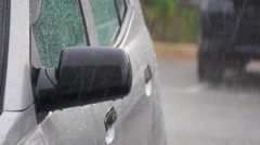Rain Fall On Car Side Mirror - stock footage