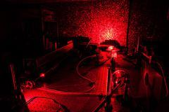 Lasers in a quantum optics lab Stock Photos