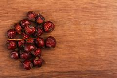 The dry rosehip on the wood - stock photo