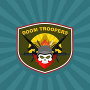 Military logo. Skull wearing a helmet with a weapon for Special warfare Stock Illustration