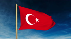 Turkey flag slider style. Waving in the wind with cloud background animation Stock Footage
