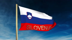 Slovenia flag slider style with title. Waving in the wind with cloud background Stock Footage