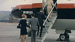 Majorca 1968: people entering into the Aircraft Stock Footage