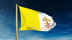 Vatican City flag slider style with title. Waving in the wind with cloud Stock Footage