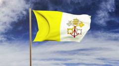 Vatican City flag waving in the wind. Looping sun rises style.  Animation loop Stock Footage