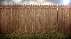 Old wood fence on forest background Stock Footage
