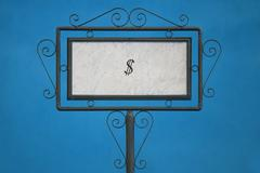 The Dollar Symbol on a Signboard. - stock photo