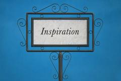 "The Word ""Inspiration"" on a Signboard - stock photo"