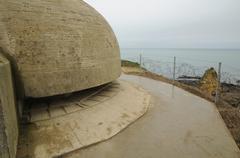 la Pointe du Hoc in Criqueville sur Mer in Normandie - stock photo
