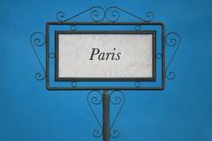 Paris City on a Signboard - stock photo
