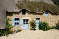 France, old thatched cottage in Saint Lyphard Stock Photos
