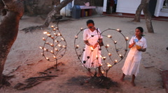 Buddhist Poya Candle Lighting, Sri Lanka Stock Footage