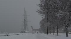 Snowy Penn's Landing Sailboat 2 Winter 2015 Stock Footage