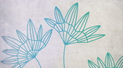 Stock Video Footage of Retro look hand drawn flowers moving in the wind, Seamless loop