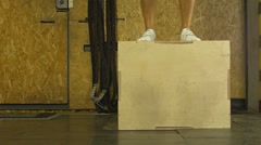 Jumping Boxes In The Crossfit Gym (BMCC 2.5K - 2400x1350) Stock Footage