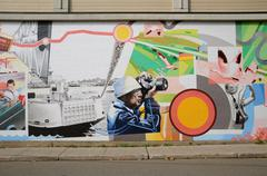 Stock Photo of Quebec, wall painting in the city of Montmagny