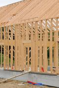 Stock Photo of building site of a wooden house