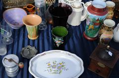 old objects on a flea market - stock photo