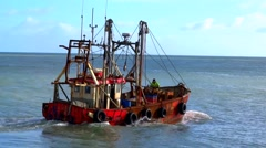 Fishing Boat at Kilmore Harbour Stock Footage