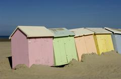 beach huts in Berck in Nord Pas de Calais - stock photo