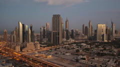 UAE, Dubai, Sheikh Zayed Rd, traffic and new high rise buildings Stock Footage