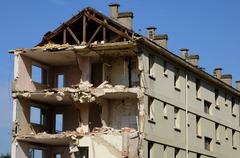 France, demolition of an old building in Les mureaux Stock Photos