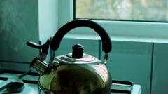 Kettle Steam Kitchen Stove Stock Footage