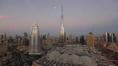 United Arab Emirates, Dubai, the Burj Khalifa & skyline - stock footage