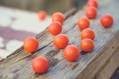Stock Photo of scattered cherry tomatoes