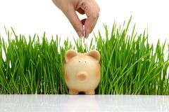 Hand deposit money in piggy bank with grass background Stock Photos