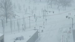 Blizzard at Street intersection in Boston Stock Footage
