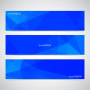 Blue Horizontal Set Of Banners Mosaic Backgrounds. Modern Vector Illustration - stock illustration