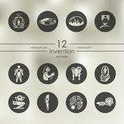 Set of invention icons - stock illustration