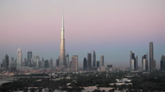 UAE, Dubai, elevated view of the new Dubai skyline, the Burj Khalifa, Stock Footage