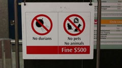 Singapore MRT Sign No Durian Stock Footage