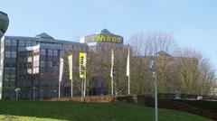 Nikon European headquarters, wide shot. Stock Footage