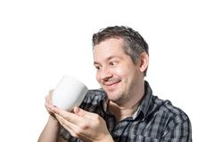 Man that loves his coffee Stock Photos